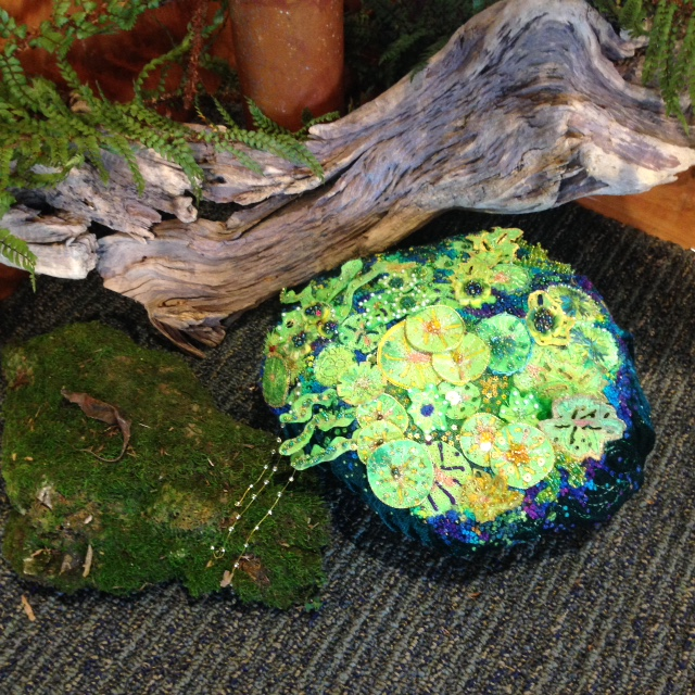 """Moss Rock-Rock Moss"". Embroidery fibre art. By Robyn Ashton."
