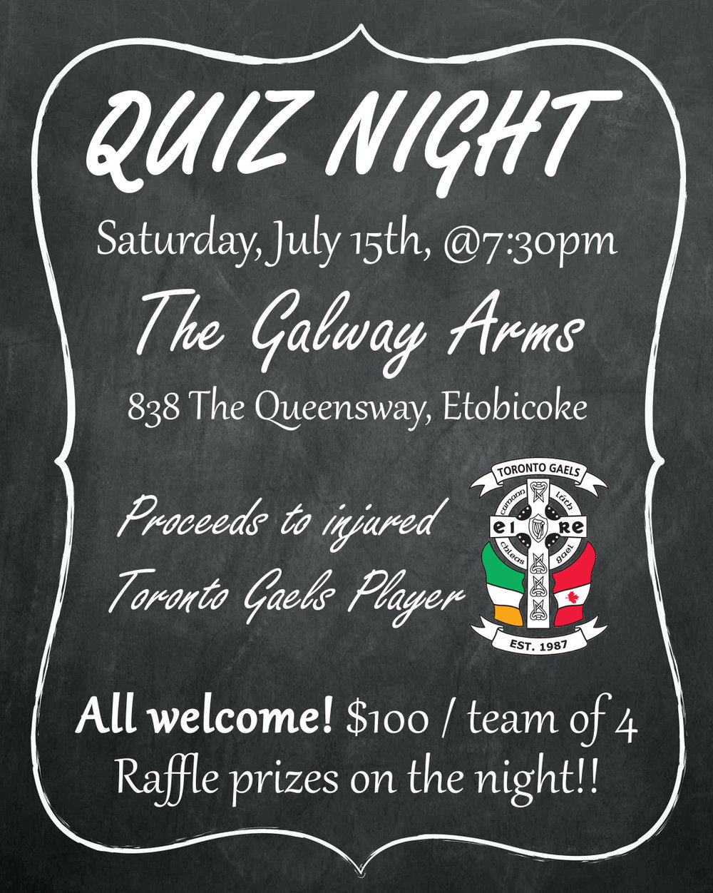Quiz Night In The Galway Arms July 15th 2017 Toronto Gaels