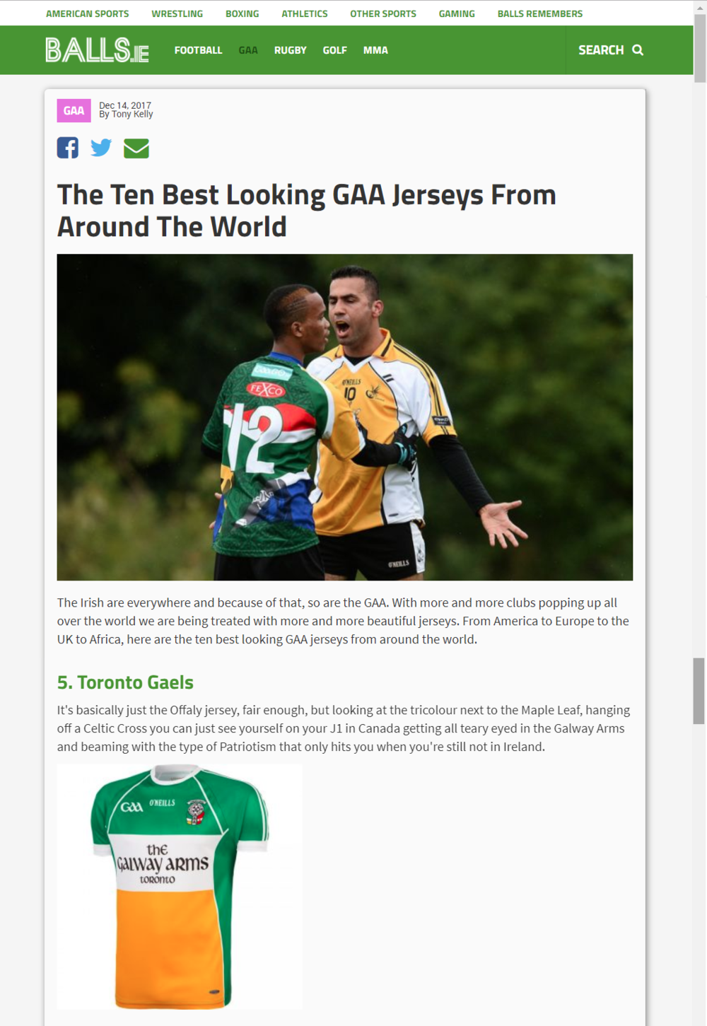 Balls.ie Toronto Gaels Jersey.png