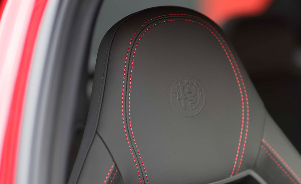 The new Logo on the Giulia Quadrifoglio seat (ph. courtesy by TaggleAuto