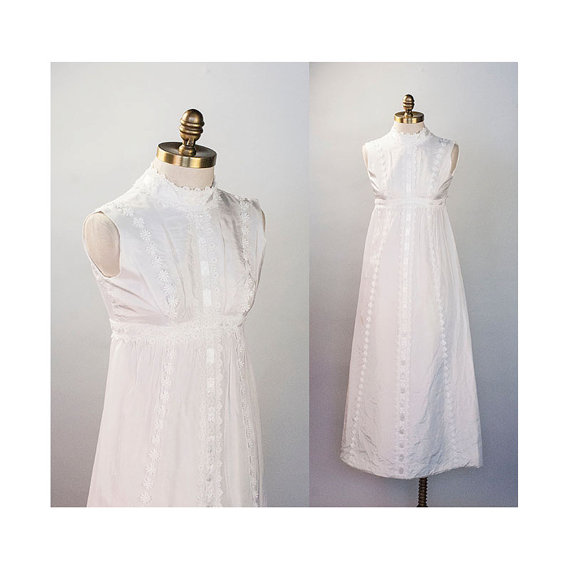 White Silk Taffeta Empire Waist Rosemary\'s Baby Wedding Dress 1960s ...