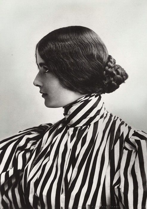 Edwardian-Era Photograph of Woman in Striped Shirt