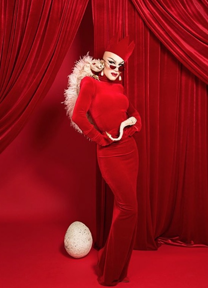 Rupaul's Drag Race season 9 winner Sasha Velour commissioned this dress and crown in 2018.  Photo by Tanner Abel