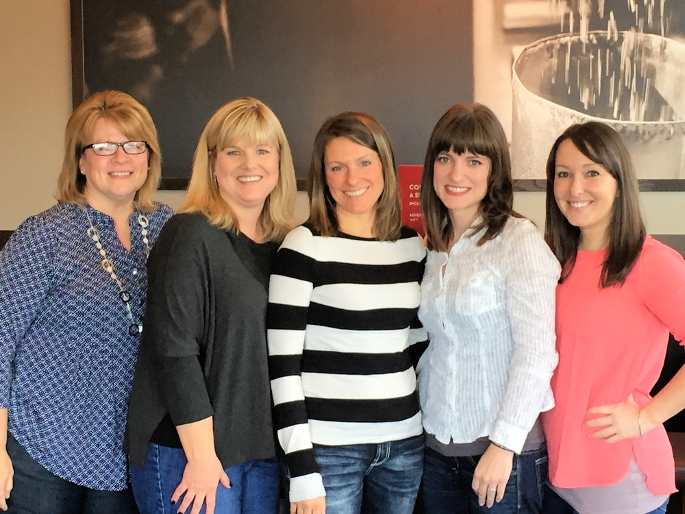 Left to right: Shelly Mclaughlin- Continuing Education Coordinator, Julie Strutz- Treasurer, Misty Carriveau- Newsletter Editor, Nicole Bolwerk- President, and Kelly Talbot- Vice President