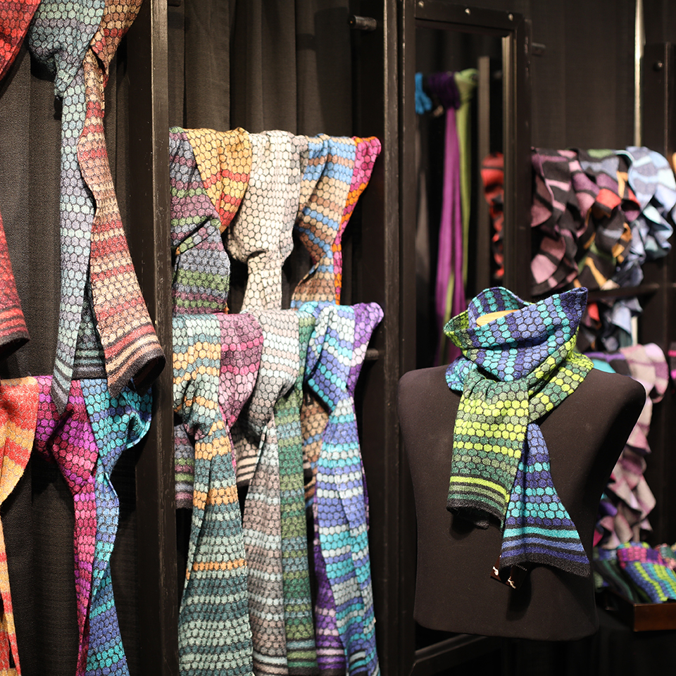 Colorful Scarves Displayed in Booth
