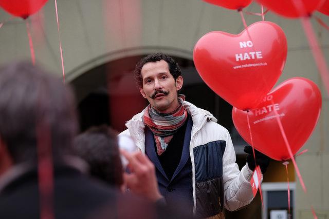 Stopp hatprat-kampanjen er en del av et europeisk nettverk av kampanjer. På bildet: Aksjon mot hatprat i Tyskland i 2014.