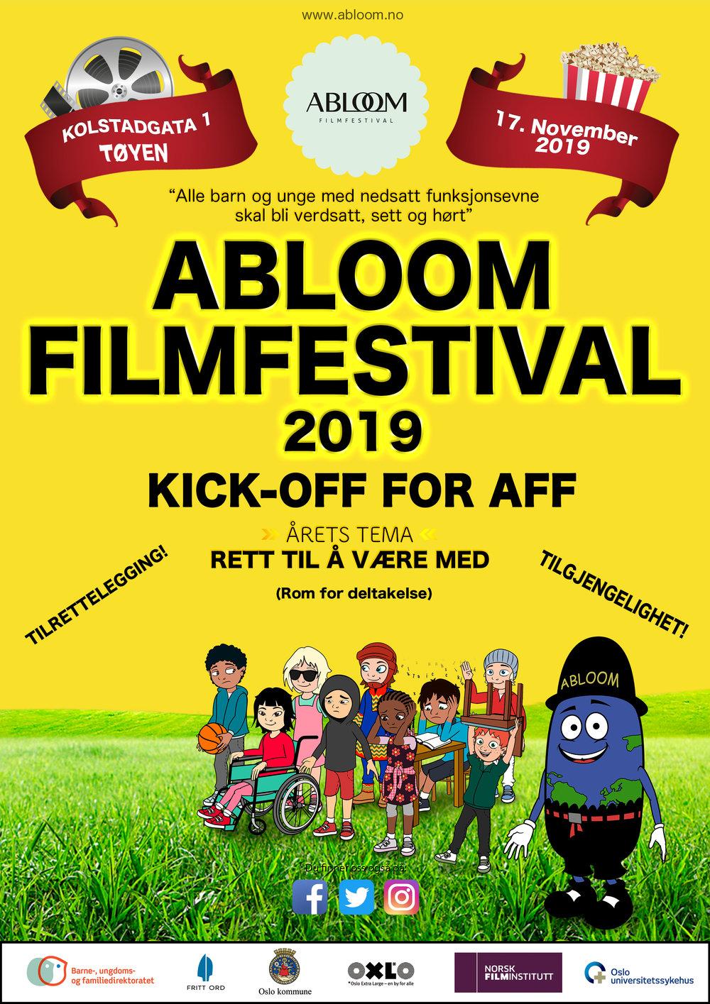 """c55b8ade ... Abloom filmfestival fra 17.til 23.11.2019. Tema: """"2019 Tema:  Tilgjengelighet og tilrettelegging: Rom for deltakelse. Like muligheter for  deltakelse i ..."""