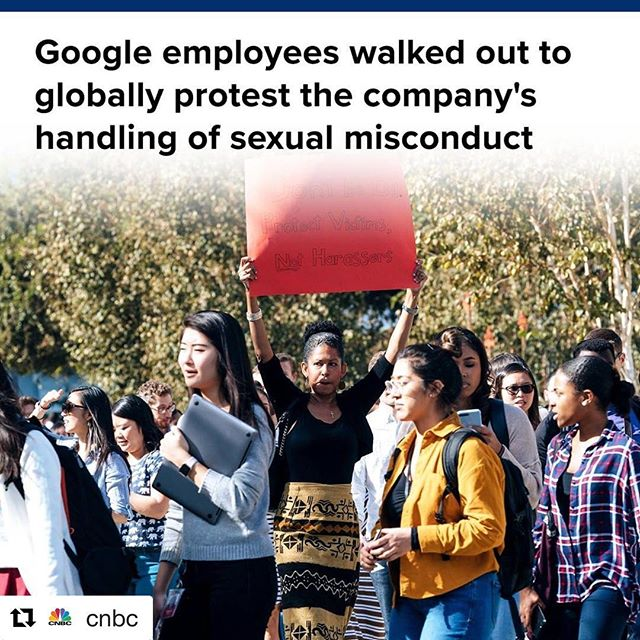 #Repost @cnbc with @get_repost ・・・ A bombshell New York Times report this week detailed how Google protected executives accused of sexual misconduct. These executives were reportedly given millions of dollars in exit packages or even allowed to stay on. In response to this report, hundreds of Google employees in dozens of offices around the world are staging walk-outs to send a message that the company needs more transparency around its handling of sexual harassment.  Read more, at the link in our bio. * * * * * * * #cnbc #business #walkout #googlewalkout #change #protest #protesting #protests #activism #employee #alphabet #google #empower #empowering #empowerment