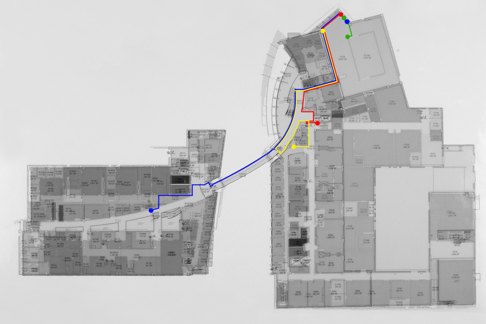 This map shows the location of the drawing arms and sensor arrays as installed in the Regis Center for Art, Minneapolis