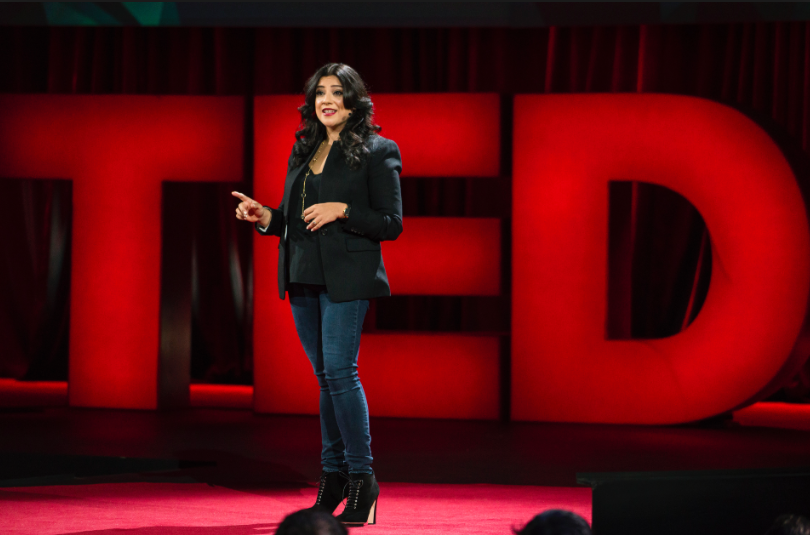 MPP client Reshma Saujani sharing her story on the TED main stage.