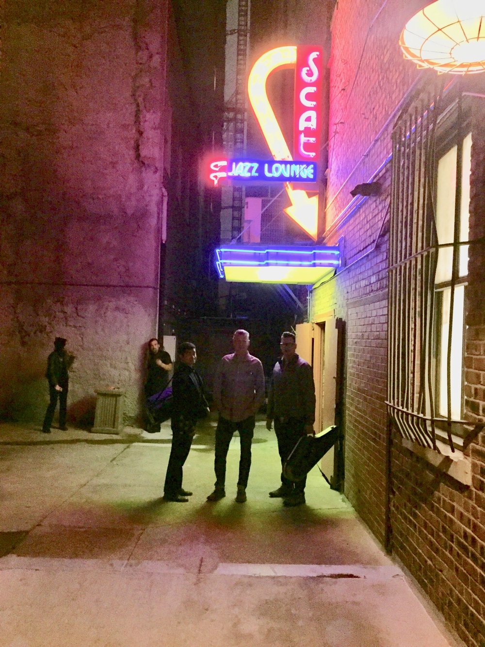 Matt Mill, Andy and Karl at Scat Jazz Lounge- in Fort Worth (it's even in a dark alley- so classic) -