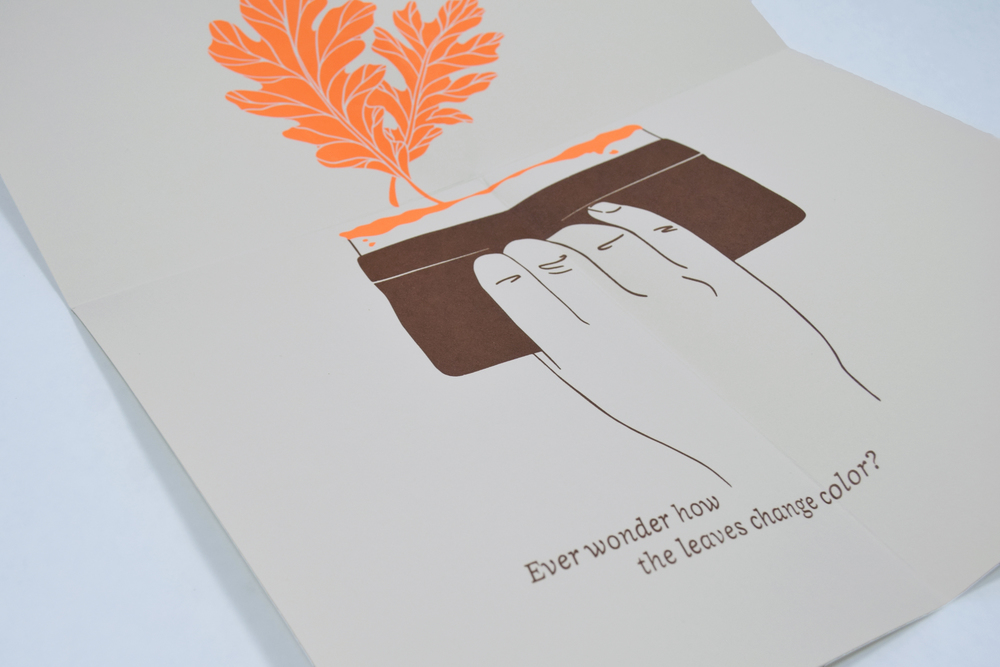 Screen printing humor on the complimentary, autumn-themed screen printed poster insert.