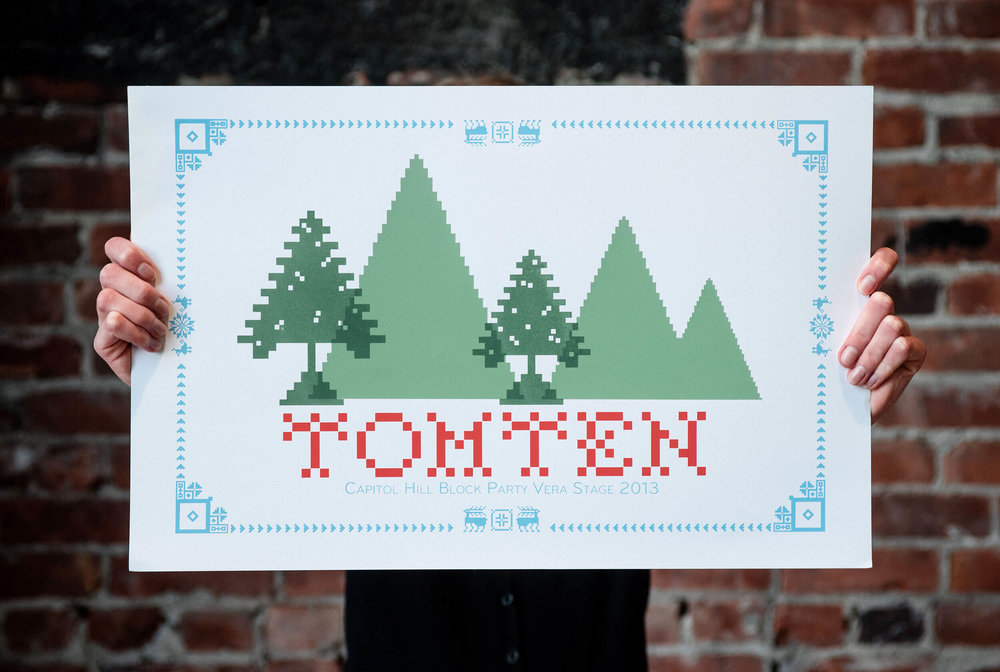 My Capitol Hill Block Party (CHBP) 2013 poster design for the local Seattle dream pop band, Tomten. In reference to their Nordic band name and PNW origins, I illustrated pine trees and the band name in a cross stitch, vaguely 8-bit style with a decorative Scandinavian border design accented by reindeer, snowflakes and geese.
