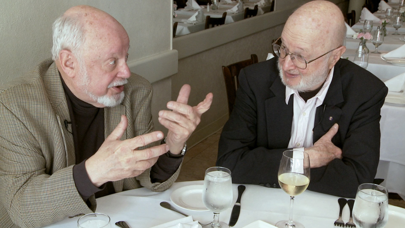 Norton Juster & Jules Feiffer at lunch in the old Brooklyn Heights Neighborhood