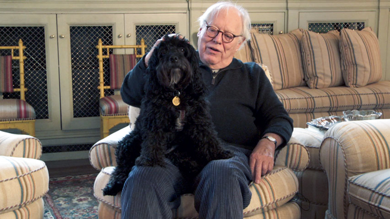 Legendary book publisher Jason Epstein and his dog, Hamlet