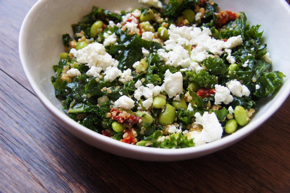 mediterranean kale edamame salad