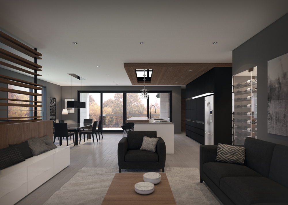 INTERIEUR: Vue du salon, cuisine et salle à manger