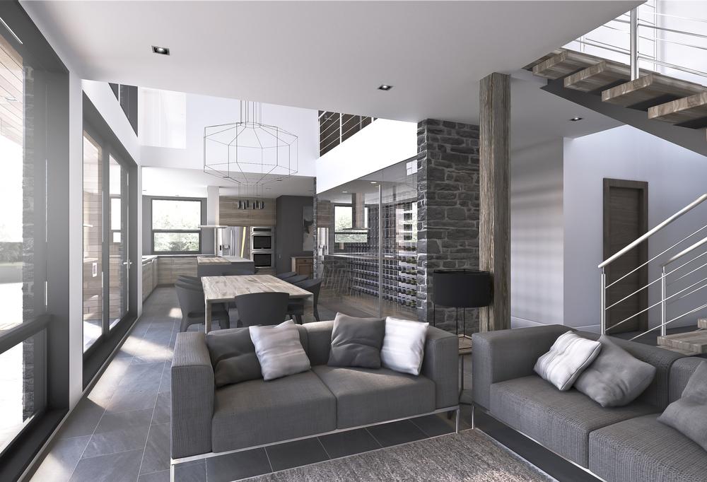 Vue Intérieur Espace cuisine, salle à manger  et salon
