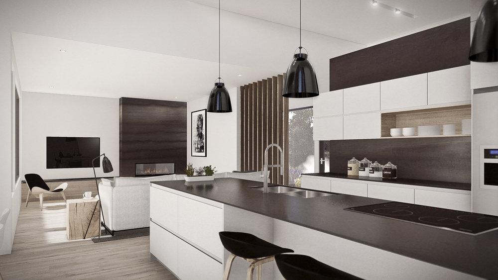 Design intérieur vue Cuisine & Séjour