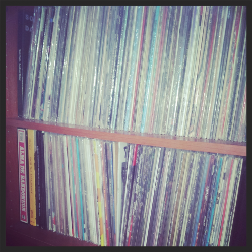 My record shelves.  I painstaking make sure every LP has it's own plastic sleeve!