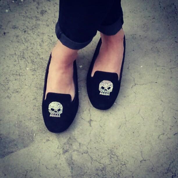 Black suede skull loafers