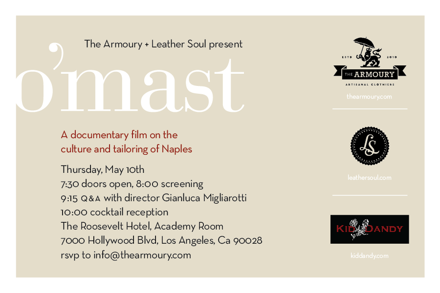 thearmoury :     O'Mast Screening LA - May 10th with Gianluca Migliarotti   Sponsored by -  The Armoury ,  Leather Soul Hawaii  and  Kid Dandy Productions    Taking place at -  The Roosevelt Hotel , Los Angeles    Tickets are USD 10