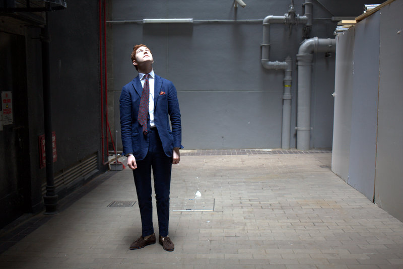 lnsee :     Looking up - Jake of the Armoury Hong Kong   Drake's Silk Tie Ring Jacket Blue Linen 184 Suit Bare Ankles in White Carmina Uetam String Loafers in Brown