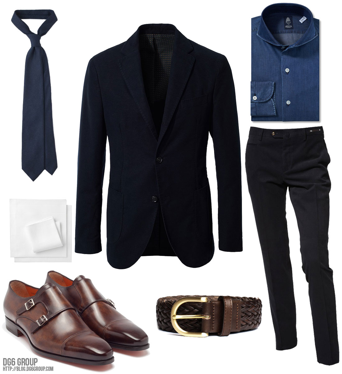 dg6group :     Friday Inspiration - Denim Fall   Jacket:  Montedoro  Shirt:  Finamore  Trousers:  PT01  Belt:  Berg&Berg  Tie:  Drake's London  Pocket Square:  Drake's   London  Shoes:  Santoni
