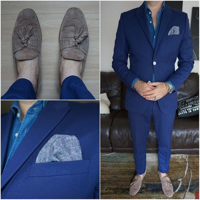 Blue on blue    #modepopuli #moda #menwithstyle #menswear #mensfashion #mensclothing #mensootd #fashionpost #fashion #zara #zarausa #pocketsquare #followme #losangeles #hm #hmtrend #GQ #gqstyle #blueonblue