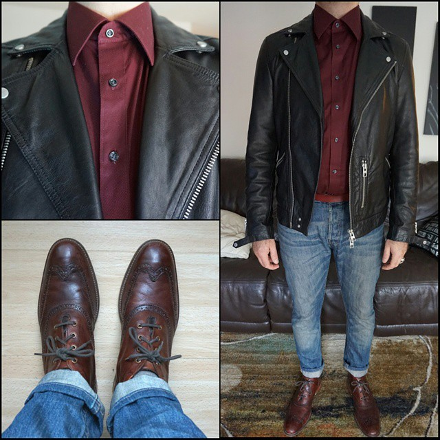Thursday's Leather    #modepopuli #moda #menwithstyle #menswear #mensfashion #mensclothing #mensootd #fashionpost #fashion #GQ #gqstyle #allsaints #leatherjacket #G2000 #colehaan #boots #ootd #thursdaysleather