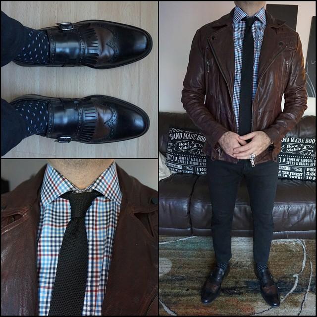 Leather days    #modepopuli #moda #menwithstyle #menswear #mensfashion #mensclothing #mensootd #fashionpost #fashion #hm #hmtrend #GQ #gqstyle #allsaints #leatherjacket #zara #zarausa #thetiebar #leatherdays