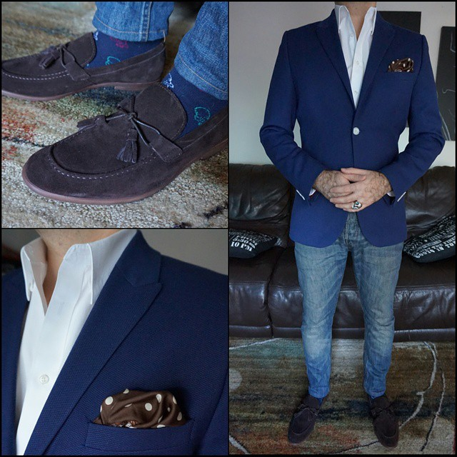 Blue and Brown    #modepopuli #moda #menwithstyle #menswear #mensfashion #mensclothing #mensootd #fashionpost #fashion #hm #hmtrend #pocketsquare #clarkeandbarba #dapper #gqstyle #GQ #allsaints #aldoshoes #G2000 #losangeles #blueandbrown