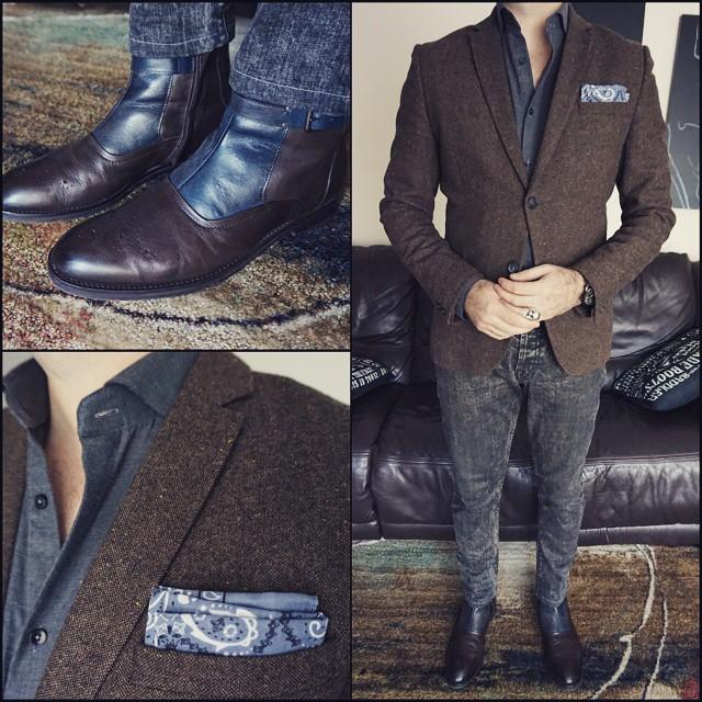 Brown and Grey    #modepopuli #moda #menwithstyle #menswear #mensfashion #mensclothing #mensootd #fashionpost #fashion #hm #hmtrend #pocketsquare #style #dapper #GQ #gqstylehunt #gqstyle #gqego #zara #zarausa #clarkeandbarba #accessories #chipandpepper #brownandgrey