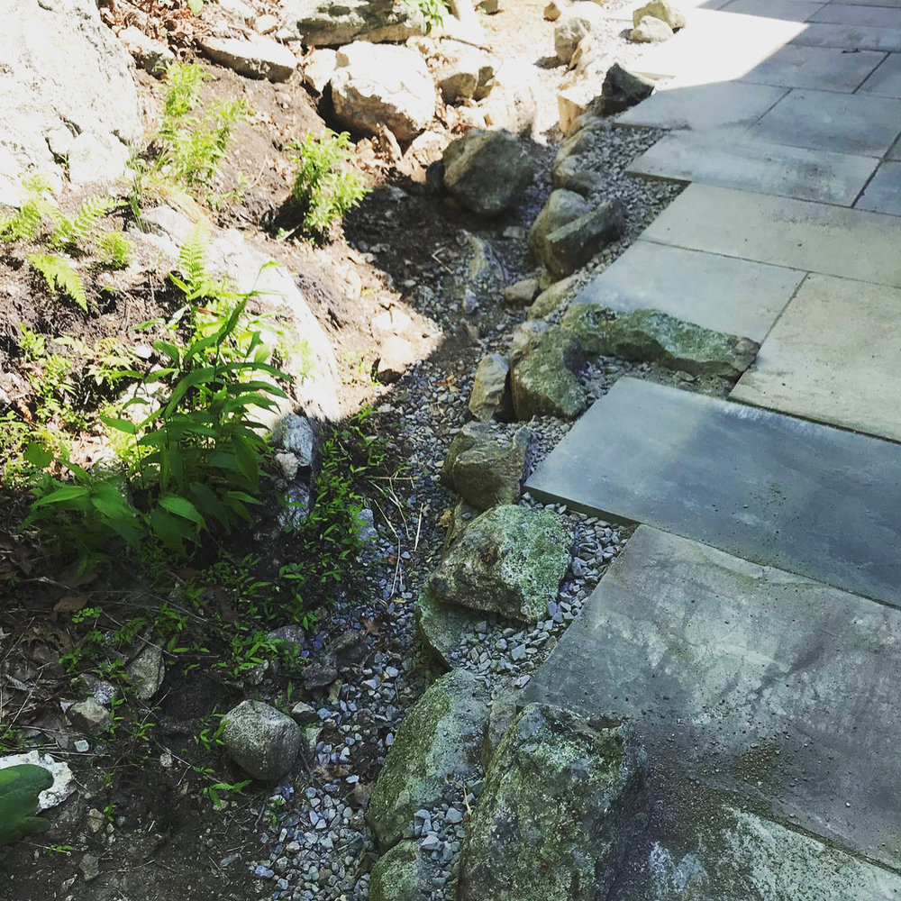 We placed boulders to border the patio edge, which contours a ravine at the base of a rocky bluff. The ravine will eventually be filled with native wildflowers.