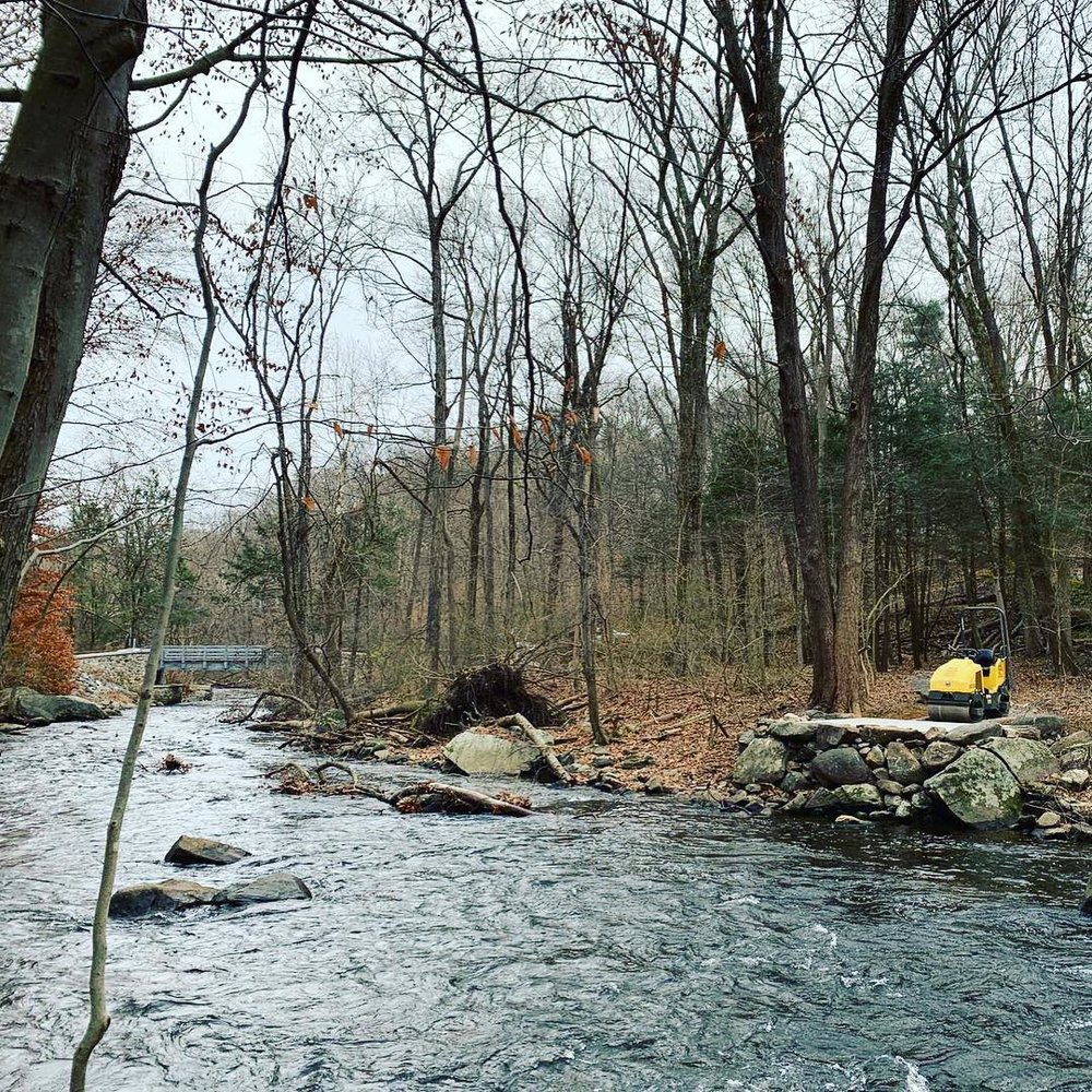 A view from the opposite bank of a new fishing access point at Mianus River Park