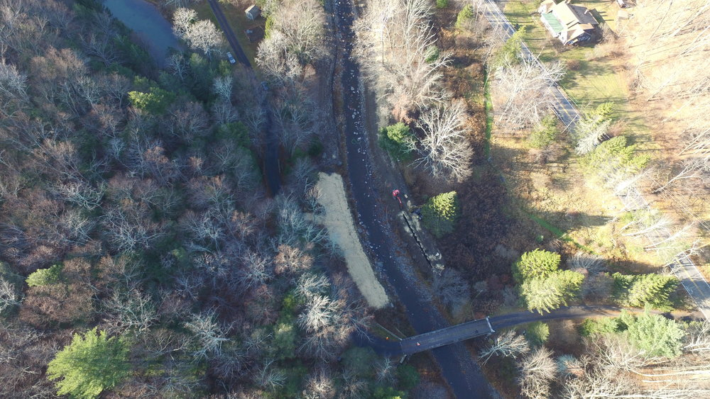 An overhead view of a bio-engineering project at Bushkill Creek