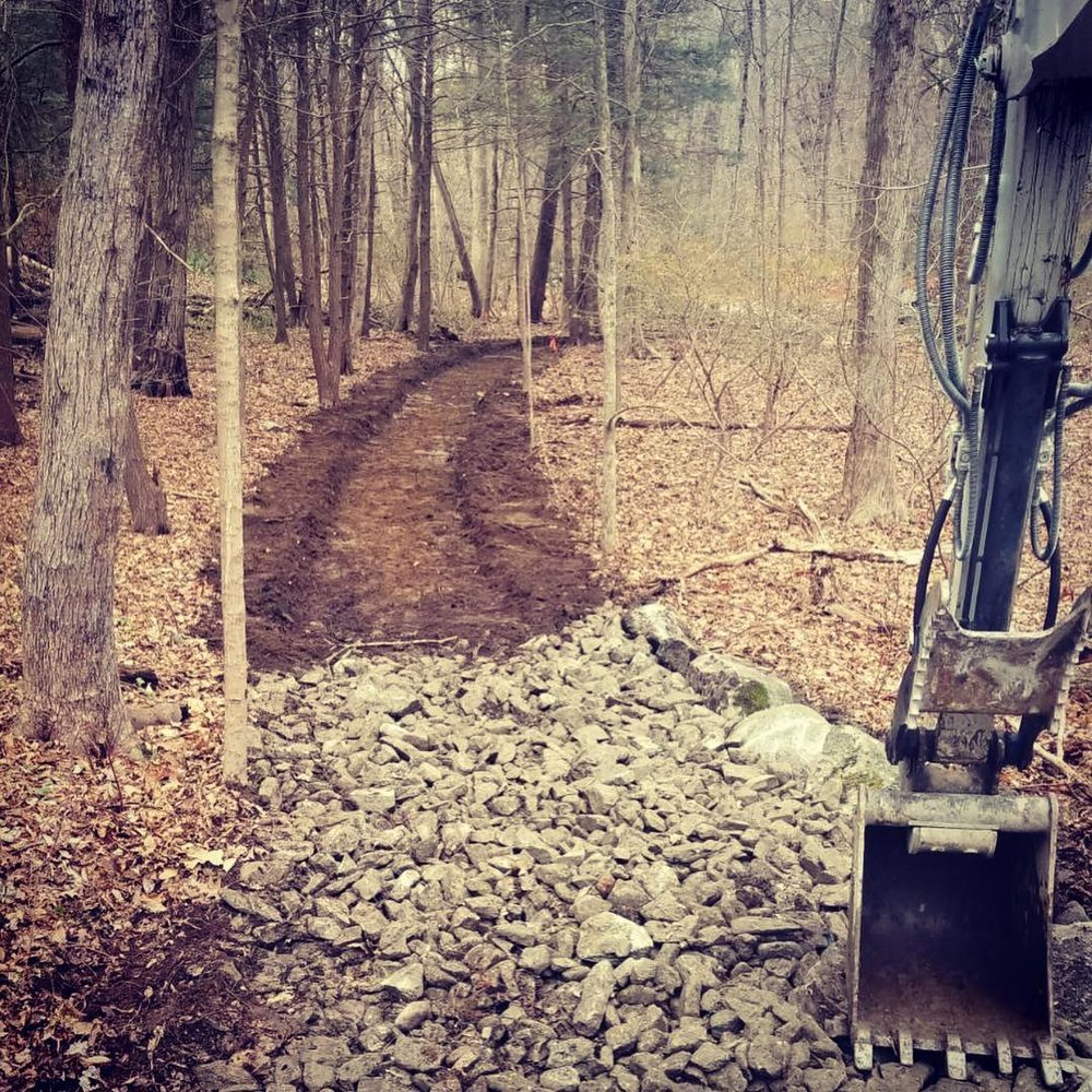 Construction of a woodland path at Mianus River Park