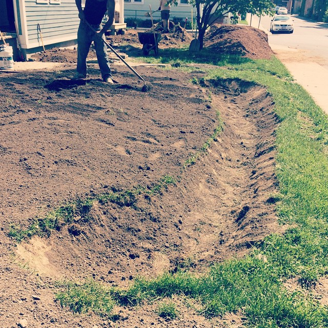 Excavating for a bio-swale at a residential project in Beacon, NY
