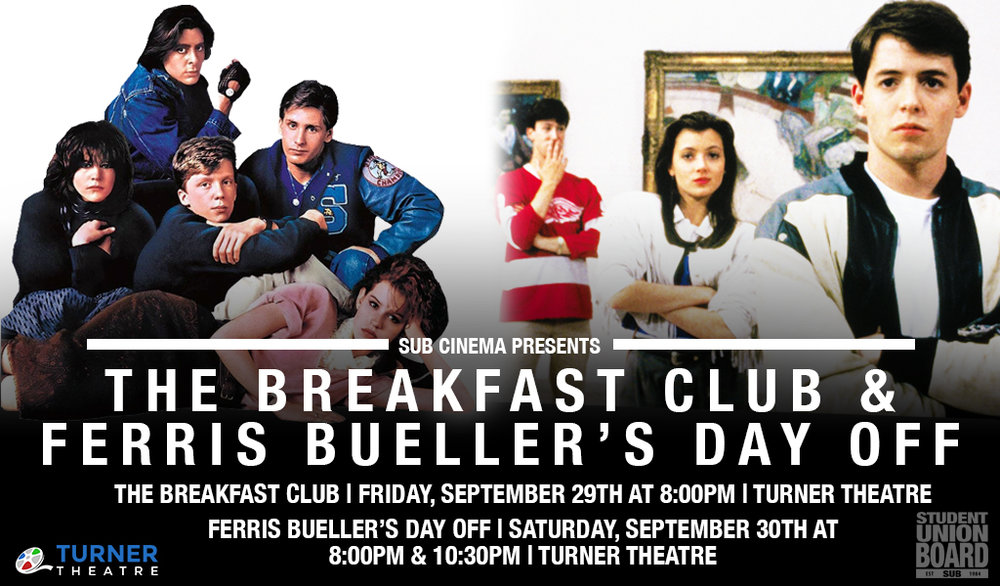 Join us for an 80's movie marathon weekend! The Breakfast Club will be showing on Friday night at 8:00pm and Ferris Bueller's Day Off will be shown on Saturday at 8:00pm & 10:30pm.