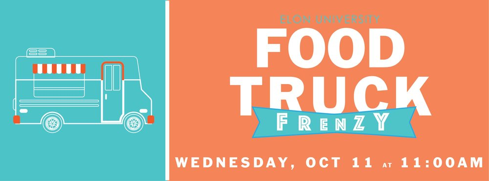 Annual Fall Food Truck Frenzy presented in partnership by SUB and Elon Dining featuring over 10 food trucks in the Koury Parking Lot!