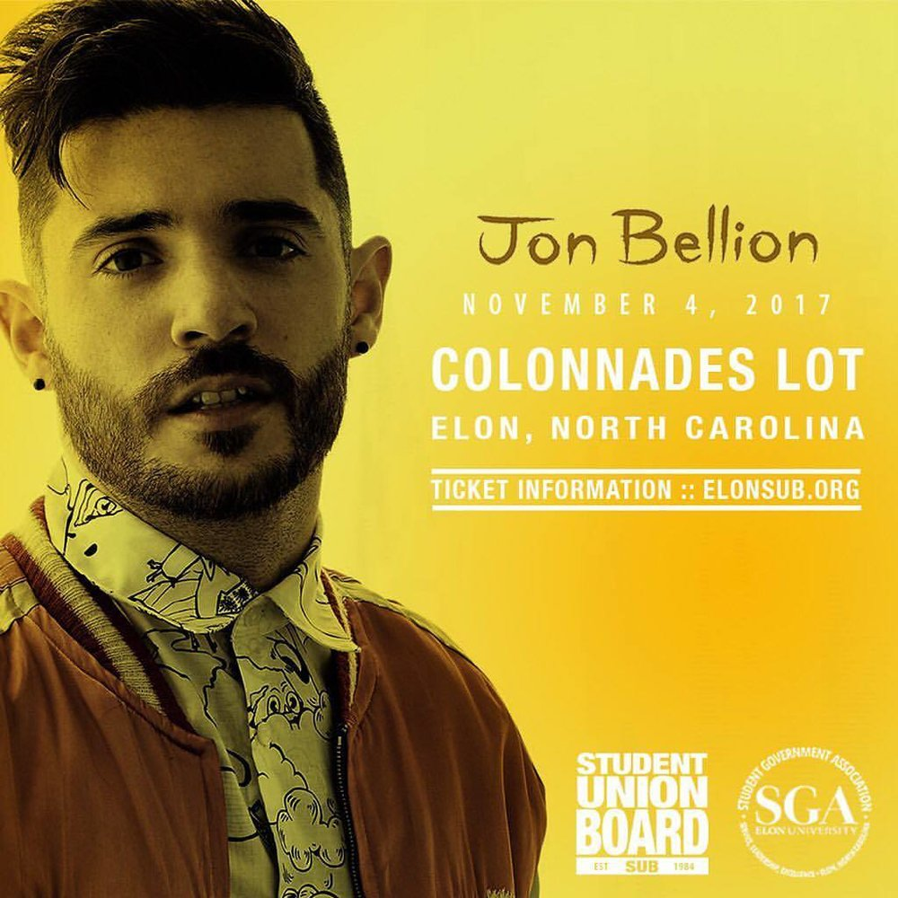 SUB and SGA present the Homecoming 2017 Concert featuring Jon Bellion in the Colonnades Parking Lot starting at 8pm on November 4th!  Tickets FREE for Elon Students, Faculty, Staff and Alumni For Additional Ticket Information visit  www.elonsub.org/jonbellion