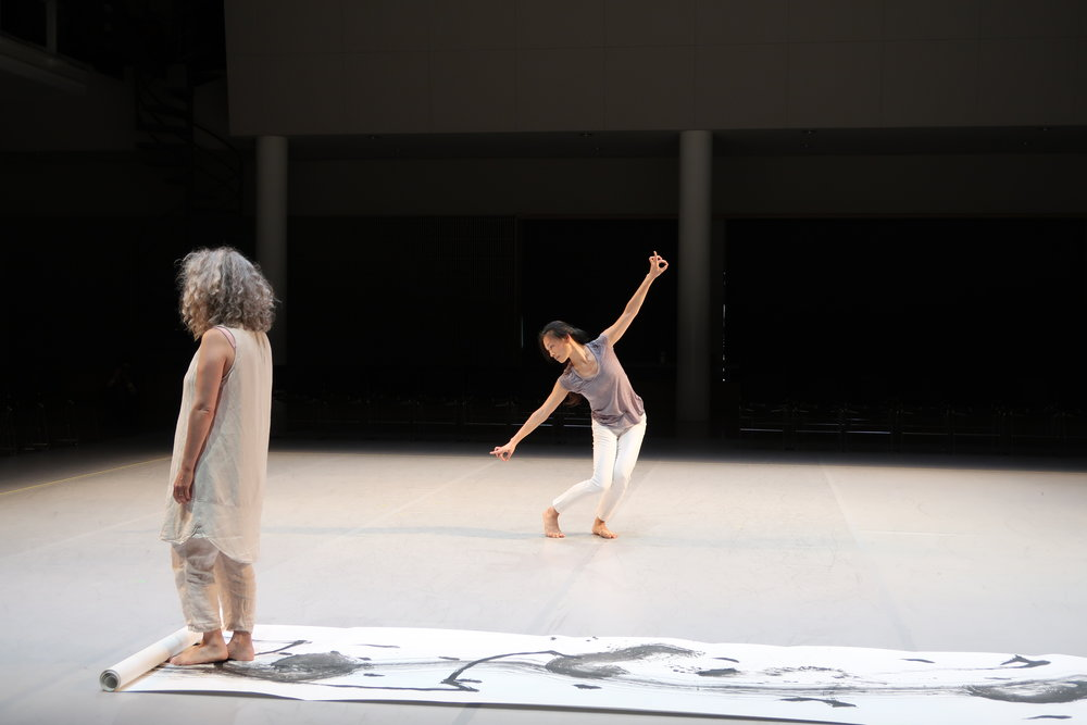 Photo by Cheryl Leonard of Grubbs and Kao in rehearsal for per[mute]ing.