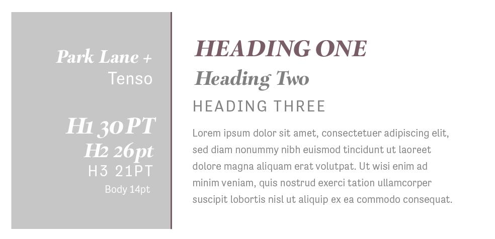 Park Lane + Tenso  |  Squarespace Font Pairings  |  Hue & Tone Creative