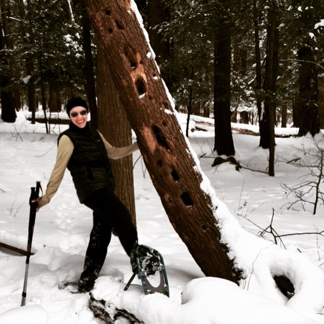 #snowshoeing today just before the winter storm hit!  #beaverlake nature center #showshoe #sunfunday #snowdayfun