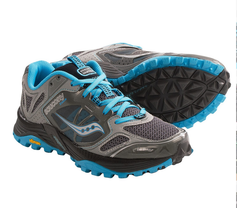 "Gear Review - Saucony Women's Xodus 4.0   While shopping at EMS a few weeks back these sexy shoes caught my eye. I was really in the market for a Brooks shoe, more specifically the Brooks Cascadia, for my next set of thru hikes starting next summer.  When I saw these shoes on clearance in my size I tried them on and liked what I saw, so I snapped them up at a bargain price, only $58 after tax!  I figured for that price I could justify just using them for running if they didn't work out.  After doing two 4-mile runs and a 10-mile hike in them yesterday, here's how I feel they performed.    The Cons: -This shoe will NOT stop slipping on my heels when hiking uphill.  I've tried a few combinations of lacing and haven't found a totally slip-free fit. I'm assuming I have narrow heels as most of my casual shoes tend to do this anyway.  I tend to buy children's shoes if I can for a better fit, so this may not apply to everyone.  -You can see the crazy grip on the soles of these suckers.  They work on every surface except smooth rock. One step on smooth rock and the soles might as well be made from wet glass because you cannot grip at all and will slide.  This is a major down side since The Long Trail has a lot of rocks! -The shoe is TIGHT for the average fit.  I think if one were to put a substantially padded insole in here they'd probably lose a few toenails. I have a pretty narrow foot and this shoe fits my foot like a glove, which is hard to get used to. (This is actually a selling feature for the shoe, a ""midlock"" foot band).   The Pros: This list is ultimately longer than the cons! -NO BREAK-IN PERIOD!  Saucony shoes are known for having no break-in period required and I definitely found this to be true. These shoes fit like a glove, as I mentioned above.  They didn't even need a hiking insole added like pretty much all other trail shoes do.  The factory insole is crazy comfy.   -The insole has a 4 mm offset, which gives your foot a more natural gait.  While the manufacturer states that this in itself can cause some sore muscles, I found that after my first short walk in these I didn't have the pains in my calves again.  -The sole on this shoe is amazing!  First and foremost, a Vibram sole is important to me when I hike. I know the thing will hold up to whatever I can throw at it.  Secondly, the grip on these shoes is like monkey feet digging into the turf.  From grass to mud to gravel, this shoe grips hard and therefore makes you work less hard to push your way up a tough hill.  -Built in ""sock liner."" Whatever it is they are using to keep this shoe breathable, yet soft, is top notch. I ran on crushed gravel for a total of 8 miles and never once had a single teeny pebble in my shoe.  There is also a plastic loop on the forefoot to hook on your gaiters if you wear them.    Overall, this is a seriously kick-ass shoe.  It's comfortable, breathable, and high performing.  My foot feels stable due to the tightness of the mid foot banding I mentioned in the ""cons"" section of this review.  Overall, I think I'll get another pair and wear them for the Benton MacKaye Trail and the Finger Lakes Trail next summer.  For the Northville-Placid Trail and the Long Trail, however, I may look into something else just for more stability on rock.  It'd be a long day hiking over Mt. Mansfield in Vermont if the rock is slick as I really don't find these shoes perform well on wet rocks, even small ones.     This post is not sponsored or endorsed by Saucony in any way.  I'm just a huge fan of this shoe and wanted to share my views."