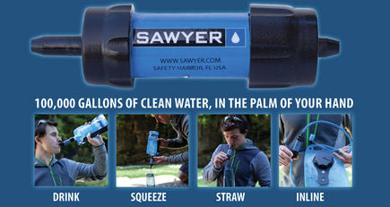 "Gear Review: Sawyer Mini water filter   Thru hikers are notorious for a lot of behaviors, but the most prevalent across the board one I ever noticed on the trail was this: the lack of water filtration.  Sure, we all know you can get horrible, nasty illnesses from drinking contaminated water but when you've hiked the last 4 miles in 100-degree heat without any water and that spring trickles just enough to fill your bottle you're going to drink it as fast as you can.     During my hike I used bleach droplets, Aquamira drops (a combination of Part A/Part B), and an MSR Sweetwater pump system on different occasions when I absolutely felt the need to purify.  Bleach takes 15-30 minutes to clean water, depending on the temperature and murkiness of the water.  Aquamira recommends waiting until the combination of the drops turns a bright yellow, letting you know the formula as ""activated"" before adding it, then waiting 15-30 minutes (again depending on the temperature and clarity) before drinking.  The water pump takes up to 10 minutes just to pump and usually requires backflushing.     When I was in North Virginia, two hikers we met showed us an amazing water system: The Sawyer Squeeze.  This was a bag you put water into, sloshed around, and then drank.  It was guaranteed for a million gallons of water and we were shocked.  Over the course of our hike we heard of one other person with that system.  In 2013, nearly half of the hikers we saw at the end of the trail in Maine were carrying the Sawyer Squeeze system and nearly everyone was happy with the filter, despite the fact that the water bags failed quite often.  We decided that would be our next filter.     After doing some research before starting our PCT planning we discovered the Sawyer Mini, the smallest, lightest filter on the market. This bad boy attaches to a squeeze bottle supplied by Sawyer or to a standard water bottle (Smartwater 1 liters are the bottle of choice for many hikers and it fits perfectly).  You can also use this on your Camelbak or Platypus system as a sort of gravity system.  This thing not only does all of these and weighs in at about 2 oz., it only costs $25.     We bought one to take with us of our hike of the Cranberry Lake 50 over Memorial Day and was one of the best decisions we've made to date. Bearing in mind that we are not the best about treating our water, a filter that is this small, convenient, and easy to use makes even thinking about filtering a nonissue.  Given that the Cranberry Lake 50 is a low-lying trail system with several water sources being ponds teeming with beavers, filtration is super important.  We were able to fill the bottle, squeeze, and have clean water nearly instantly - water that was free of both contaminates and particulates!  Not only was this important for us, but it was important for our dog as well, who deserved clean water to drink just as we did.     We had absolutely no problems using the filter on our 3-day hike and carried the backflushing syringe just in case.  The whole system fit into a small stuff sack and was easily thrown into an exterior pocket on a pack, making for a quick grab and go.  This also made it possible to carry a smaller load of water, making packs lighter.     All in all, I'd recommend the Sawyer Mini system to anyone looking for a quick and easy way to drink clean water.  It's super affordable (even on a thru hiker budget!), lightweight, and easy to use.  I think we'll buy a second one so we both have one on hand.       This post is in no way sponsored or solicited by Sawyer.  It's all me.  I'm a total fan!"