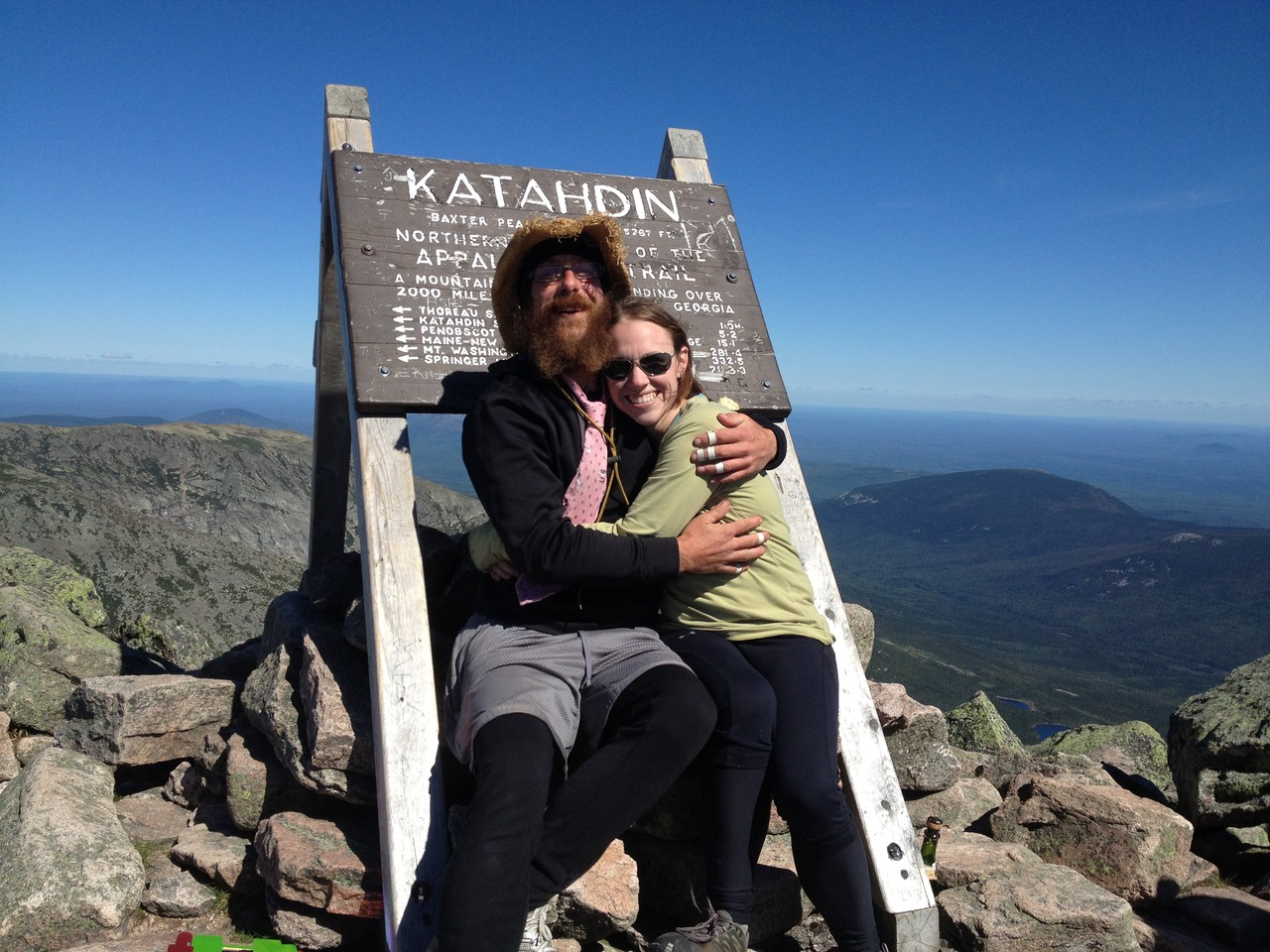 Here we are! We summited Mt. Katahdin on 9-11-12 at 11:00 a.m. after waiting for six days.  The 11th is Nokey's birthday and we wanted to wait for that day.  After taking about 45 zeros on the trail, we finished the trail in 5.5 months for me and six months, 1 day for Nokey.  I've been working on getting my videos posted, but the formatting issues are giving me problems.  I'll be doing some blogging and photo updates in the next several days.   I wanted to thank everyone who supported me on my thru hike, friends, family, and co-workers alike.  It meant a lot to me to get into town and have emails, texts, and voicemails from so many of you consistently throughout my trip.  There were times on the trail when I wanted nothing more than to just quit and come home.  There were other times I'd be angry with myself for ever doubting my abilities.  I've grown and changed a lot as a person in the past few months and I'm already looking forward to my next adventure, wherever it may take me!
