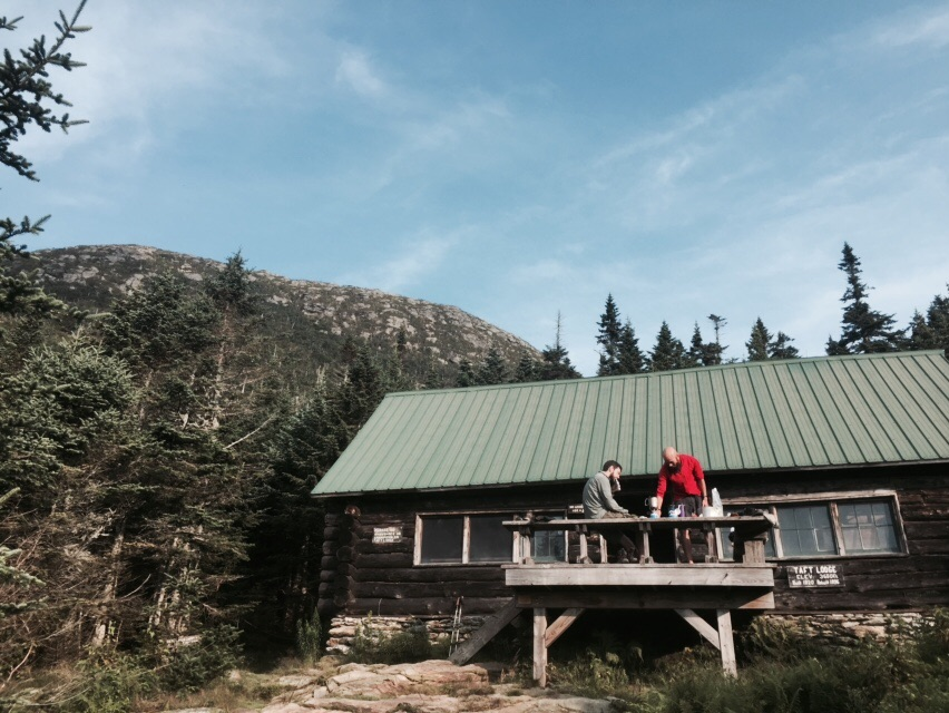 Taft Lodge with The Chin of Mount Mansfield in the background. Slowpoke and Redwood are in the photo here.