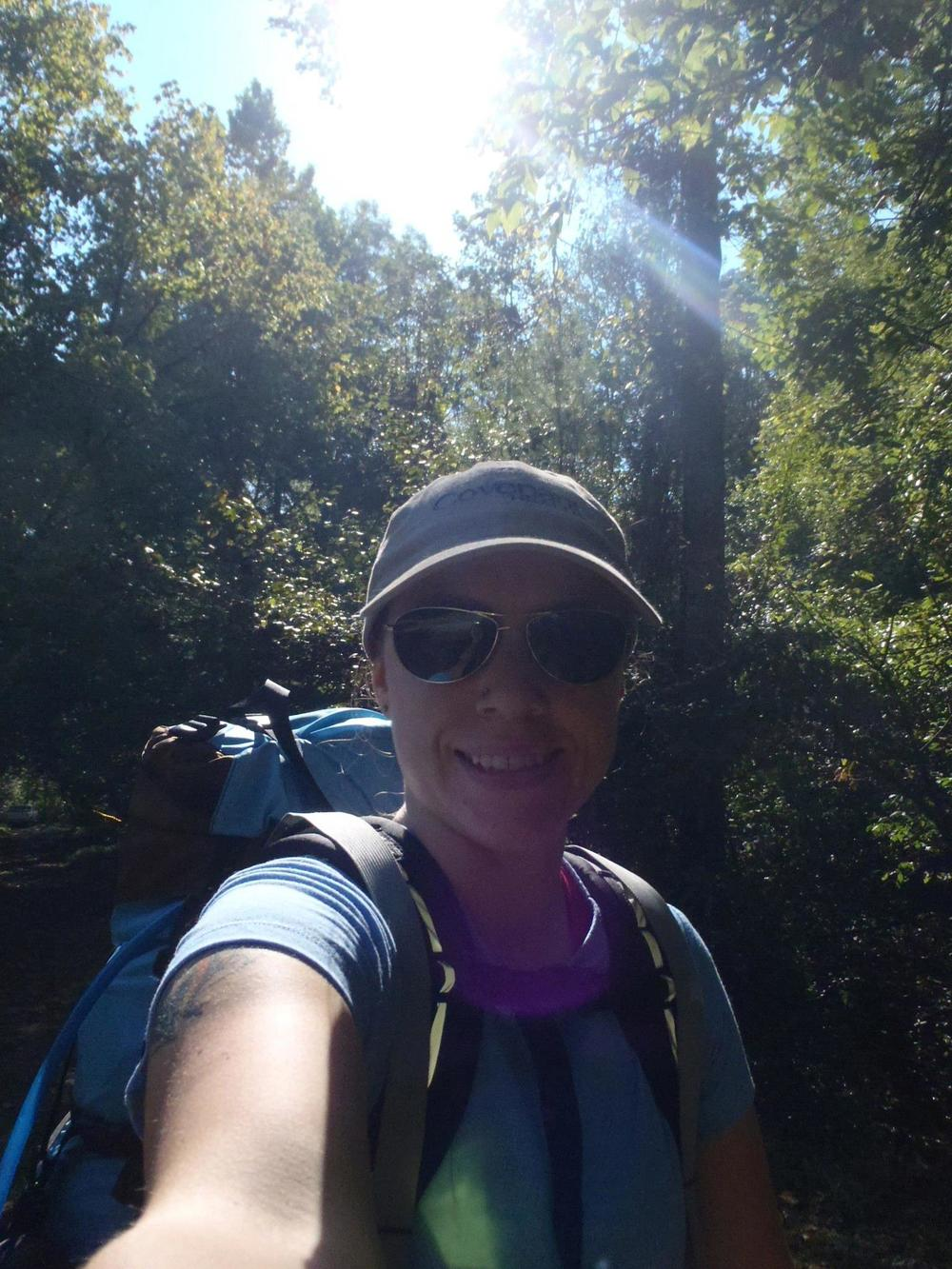 A nervous me before my very first solo backpacking trip.  I had no idea what to expect, but I was thrilled to be trying.