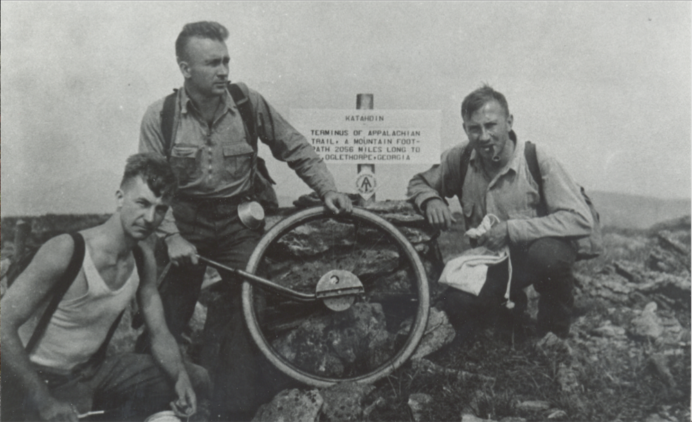 From Left, Albert Jackman, Myron Avery, and Frank Schairer, at summit of Katahdin, Maine, northern terminus of the A.T. The photograph by Shailer S. Philbrick was taken just after the original sign marking Katahdin as the northern terminus was put into place on Aug. 19, 1933.